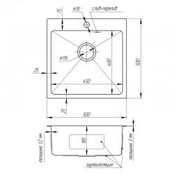 Кухонная мойка Imperial D5050 Handmade 3.0/1.2 mm (IMPD5050H12)