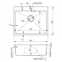 Кухонная мойка Imperial D6050 Handmade 3.0/1.2 mm (IMPD6050H12)
