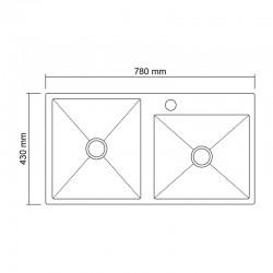 Кухонная мойка двойная Imperial S7843 Handmade 3.0/1.2 mm