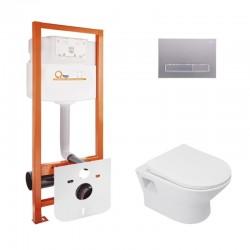 Набор Qtap инсталляция Nest QTNESTM425M08SAT + унитаз с сиденьем Lark QT0331159W