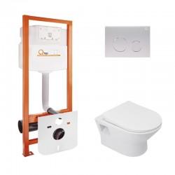 Набор Qtap инсталляция Nest QTNESTM425M11SAT + унитаз с сиденьем Lark QT0331159W