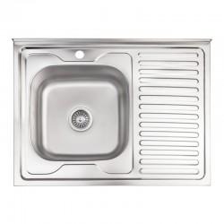 Кухонная мойка Lidz 6080-L Decor 0,8 мм LIDZ6080LDEC08