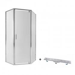 Набор Qtap душевая кабина Leo CRM10995-AC6 Clear с линейным трапом Dry FC304-800