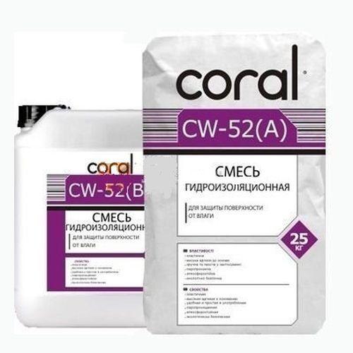 Гидроизоляционная смесь Coral CW-52 2-ух компонентная 25кг Картинка
